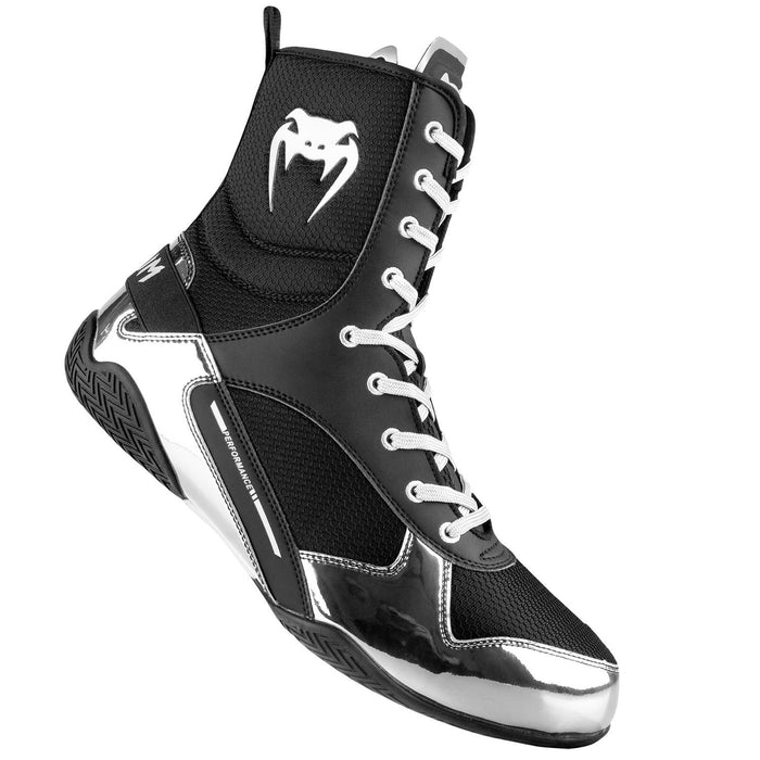 Venum Elite Boxing Boots - Black/Silver