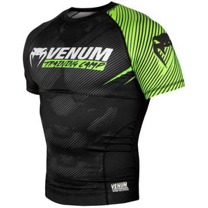 Venum Training Camp 2.0 Short Sleeved Rashguard - Black/Neo Yellow - Fightstore Pro