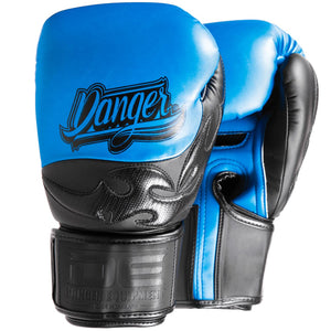 Danger Equipment Sak Muay Semi Leather Boxing Gloves - Blue/Black