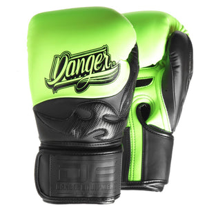 Danger Equipment Sak Muay Semi Leather Boxing Gloves - Yellow/Black - Fightstore Pro