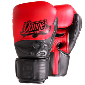 Danger Equipment Sak Muay Semi Leather Boxing Gloves - Red/Black