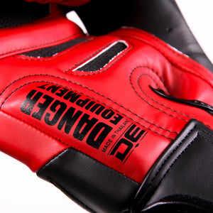 Danger Equipment Sak Muay Semi Leather Boxing Gloves - Red/Black - Fightstore Pro