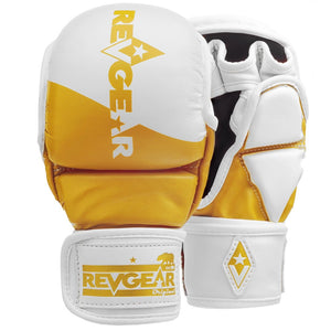 PINNACLE MMA SPARRING GLOVES - WHITE/GOLD - Fightstore Pro