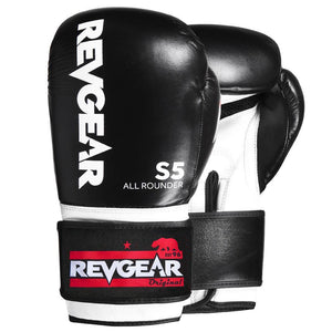 Revgear S5 All Rounder Boxing Glove - Black White - Fightstore Pro