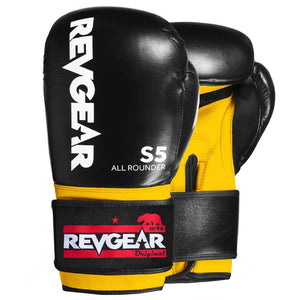 Revgear S5 All Rounder Boxing Glove - Black Yellow - Fightstore Pro