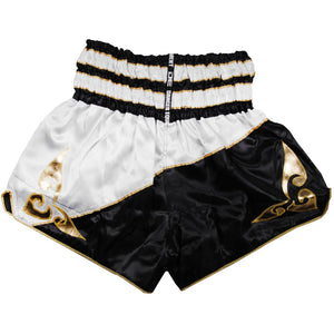D.E Fit Special Muay Thai Shorts - White/Black/Gold - Fightstore Pro