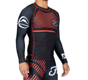 Fuji Sports Script Long Sleeve Rashguard - Red - Fightstore Pro