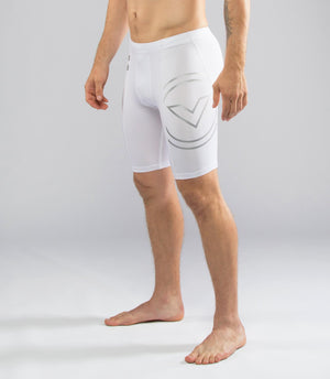 Virus BioCeramic Mens Tech Compression Shorts White/Silver