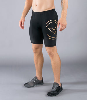 Virus BioCeramic Mens Tech Compression Shorts Black/Gold