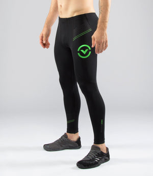 Virus BioCeramic Pinstripe Tech V2 Compression Pant Black/Lime Green