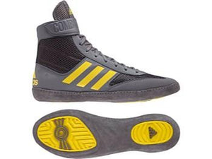 Adidas Combat Speed 5 Wrestling Boots - Grey/Yellow - Fightstore Pro