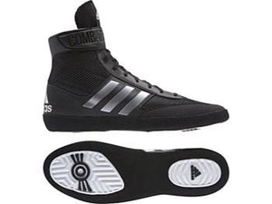 Adidas Combat Speed 5 Wrestling Boots - Black/Silver - Fightstore Pro