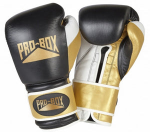 Pro Box 'PRO-SPAR' Leather Sparring Boxing Gloves - Black/Gold