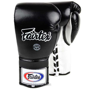 Fairtex Lace-up Sparring Gloves - Black-White