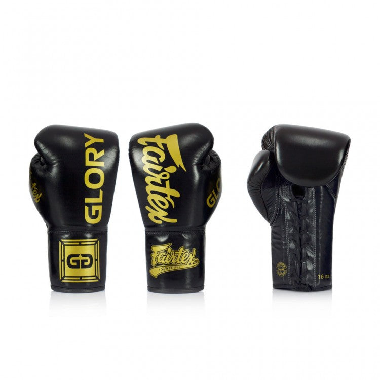Fairtex X Glory Boxing Gloves for Kickboxing Sparring Muay Thai Leather Handmade in Thailand Official Glory Kickboxing Gloves Black