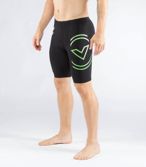 Virus StayCool Mens Tech V2 Compression Shorts Black/Green