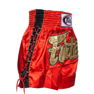 Fairtex BS0602 Red Laced Sides Muay Thai Shorts 1