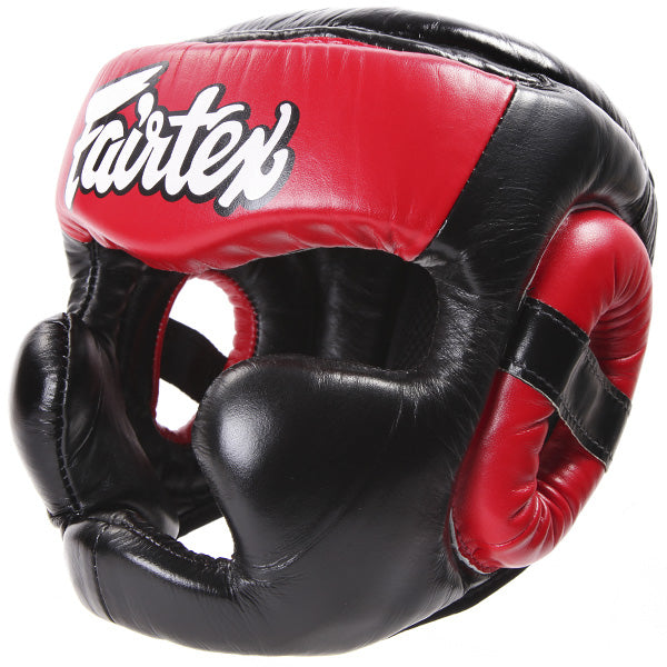 Fairtex Ultimate Full Coverage Headguard - Black And Red