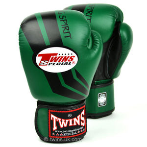 Twins Special Boxing Gloves Green/Black Stripe