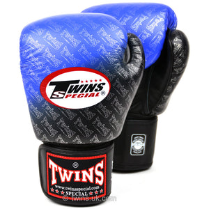 Twins Special Boxing Gloves Black-Blue Fade