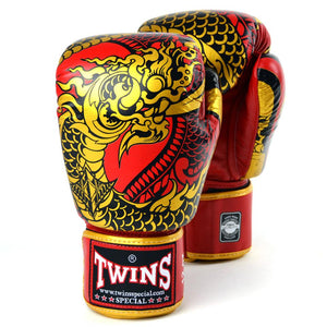 Twins Special Boxing Gloves - Nagas - Red/Gold