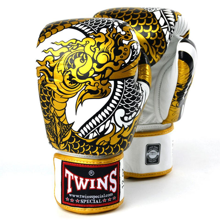 Twins Special Boxing Gloves - Nagas - White/Gold