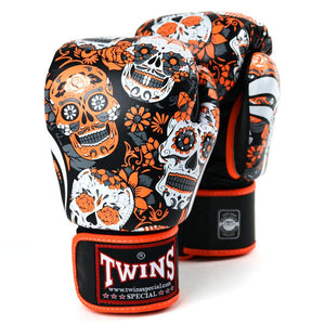 Twins Special Boxing Gloves - Orange Skull