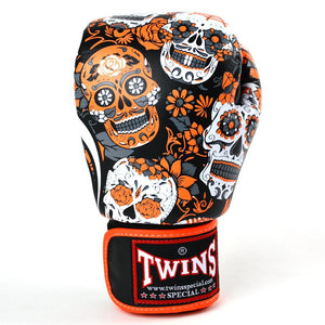 Twins Special Boxing Gloves - Orange Skull - Fightstore Pro