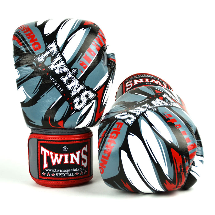 Twins Special FBGVL3-55 Grey-Red Demon Boxing Gloves