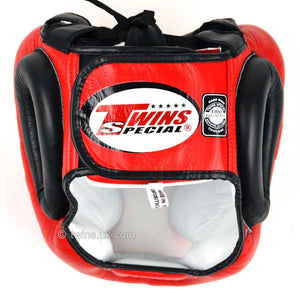 Twins Red-Black 2-Tone Sparring Head Guard 2