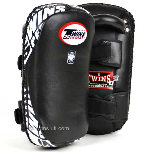 Twins Muay Thai Kick Pads - Black Curved