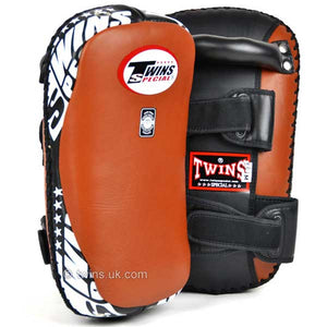 Twins Curved Thai Leather Kick Pads Brown 1