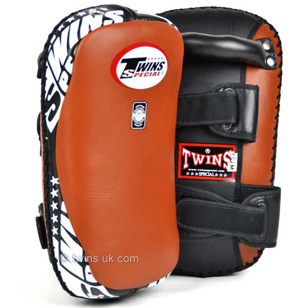 Twins Curved Thai Leather Kick Pads Brown