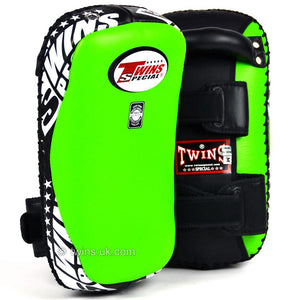 Twins Curved Thai Leather Kick Pads Green - Fightstore Pro