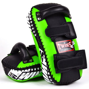 Twins Curved Thai Leather Kick Pads Green