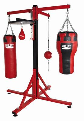 Pro Box Colossus Four Station Bag Frames - Three Punchbag Arms and Speedball Platform