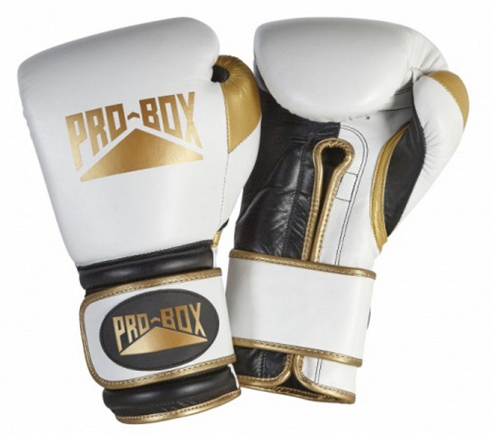 Pro Box 'PRO-SPAR' Leather Sparring Boxing Gloves - White/Gold