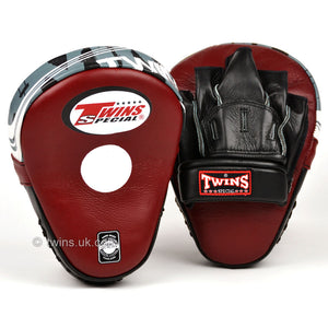 Twins PML-10 Deluxe Curved Focus Mitts Burgundy