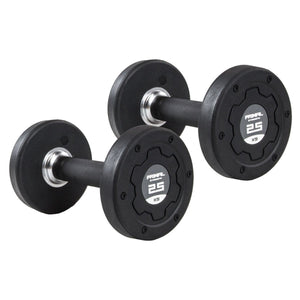 Primal Strength Stealth Commercial Fitness Premium Rubber/Stainless Steel 27.5kg-50kg Dumbbell Set (10 Pairs)