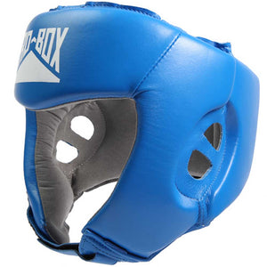 Pro Box Leather Boxing Head Guard Blue