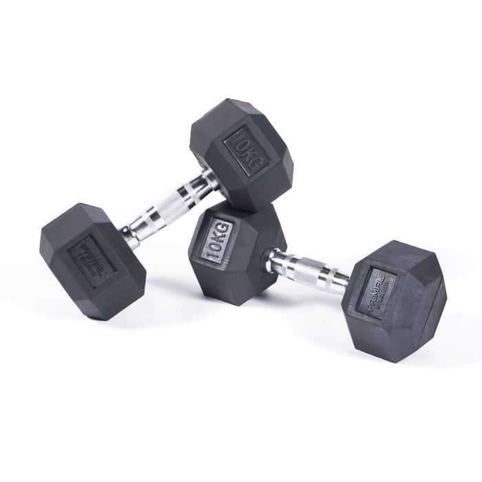 Primal Strength Commercial Rubber Hex Dumbbells 1-50kg (Pairs)