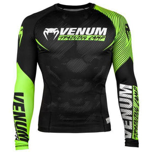 Venum Training Camp 2.0 Long Sleeved Rashguard - Black/Neo Yellow - Fightstore Pro