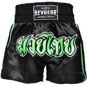 Kids Muay Thai Shorts - Black Green - Fightstore Pro