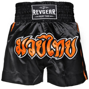 Revgear Kids Muay Thai Shorts Black and Orange