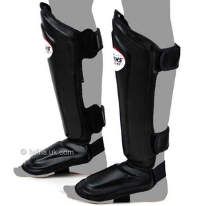 Twins Black Double Padded Leather Shin Pads