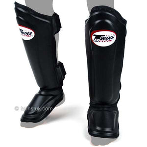 Twins Black Double Padded Leather Shin Pads 1