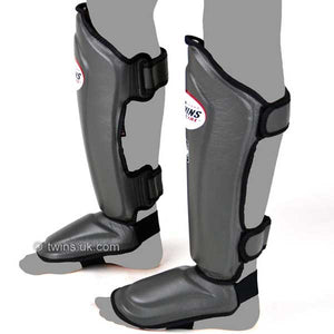 Twins Double Padded Leather Shin Pads - Grey
