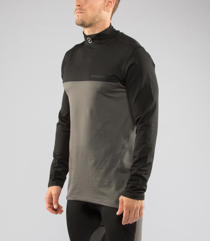 Virus Mens StayWarm Long Sleeved Compression Top Black/Grey