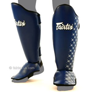 Fairtex Competition Thai Shinguards Blue 4