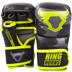 Venum Ringhorns Charger MMA Sparring Gloves - Black/Neo Yellow - Fightstore Pro